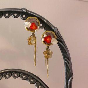 Gold Plate Rose Chain Earrings